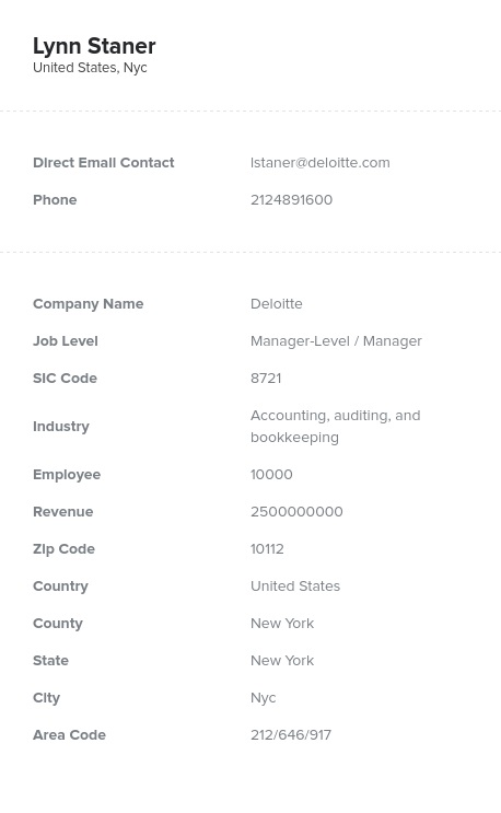 Sample of Accounting, Bookkeeping Email List.
