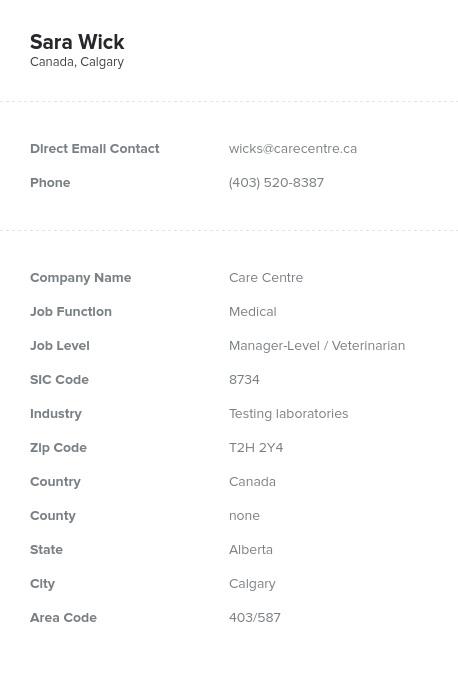 Sample of Alberta Email List.