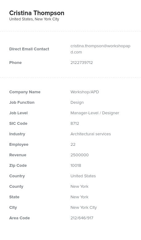 Sample of Architectural Services Email List.