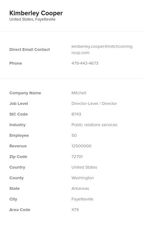 Sample of Arkansas Email List.
