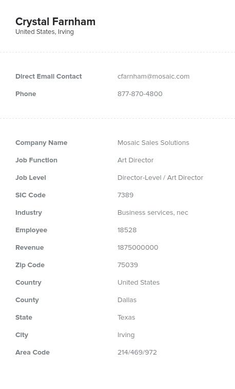 Sample of Art Directors Email List.