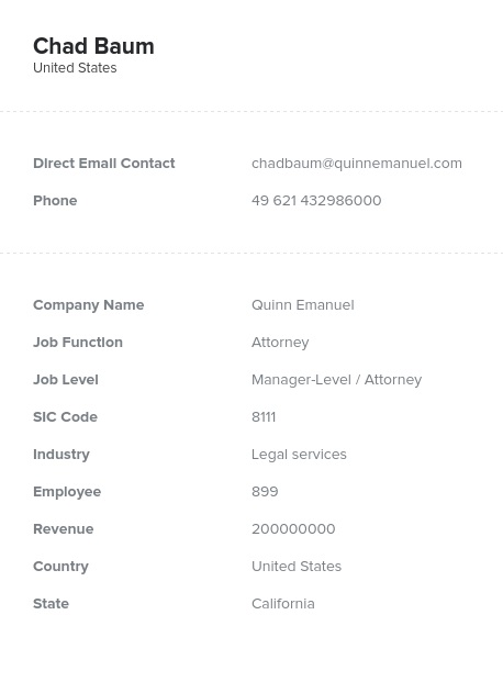 Sample of Attorney Email List.