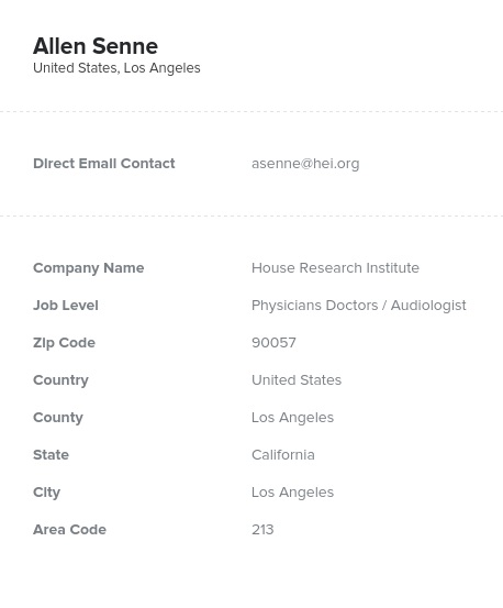 Sample of Audiologists Email List.