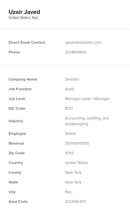 Sample of Audit Email List.