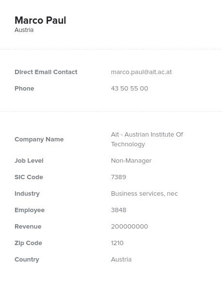 Sample of Austria Email List.