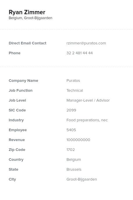 Sample of Belgium Email List.