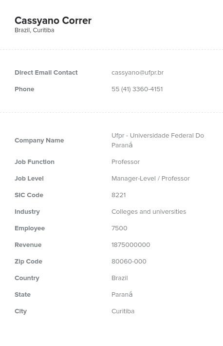 Sample of Brazil Email List.