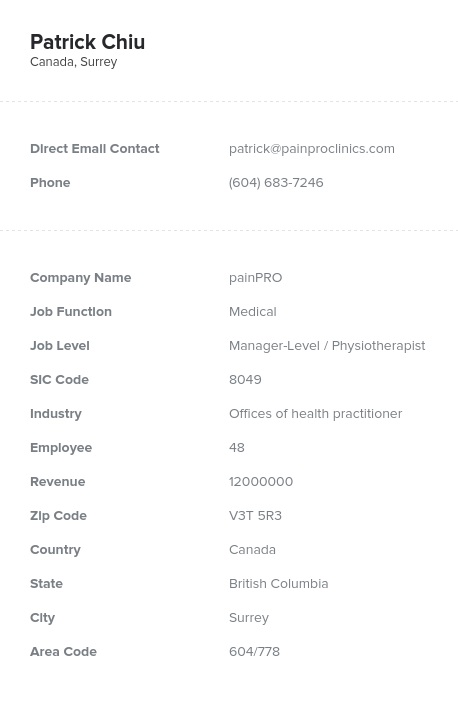 Sample of Canadian Healthcare, Medical Email List.