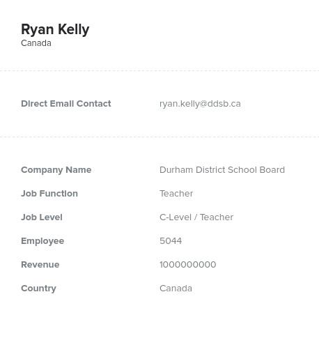 Sample of Canadian Teachers Email List.