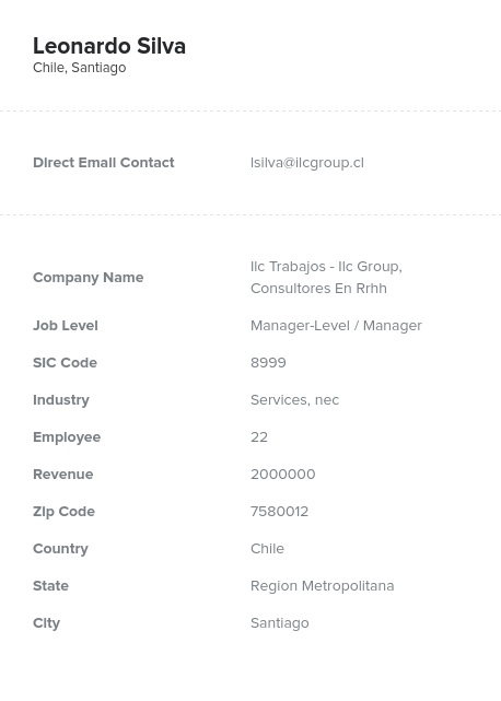 Sample of Chile Email List.