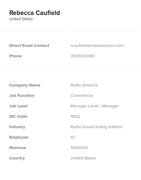 Sample of Commercial Email List.