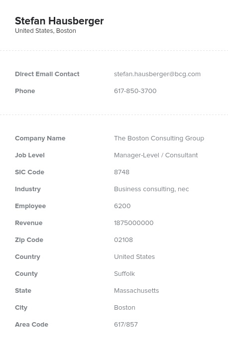Sample of Consulting Email List.