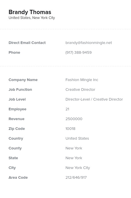 Sample of Creative Directors Email List.