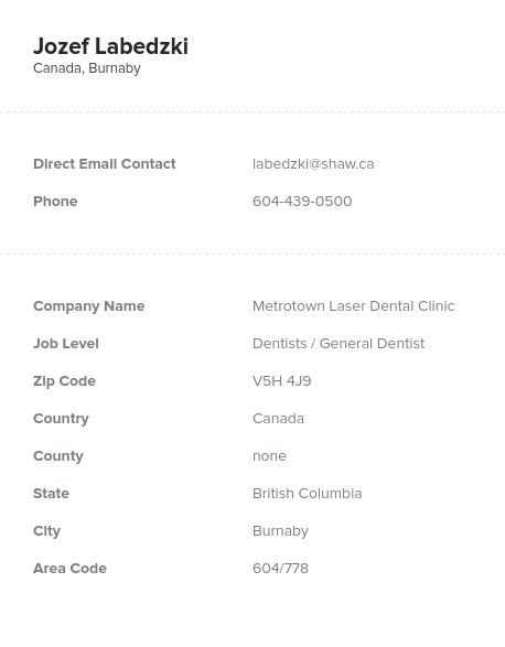 Sample of Dentists in CanadaEmail List.