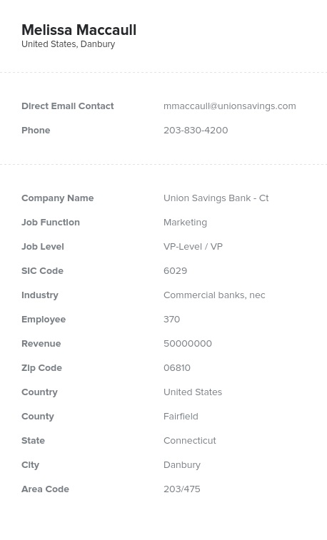 Sample of Depository Institutions Email List.