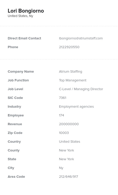 Sample of Employment Agencies Email List.