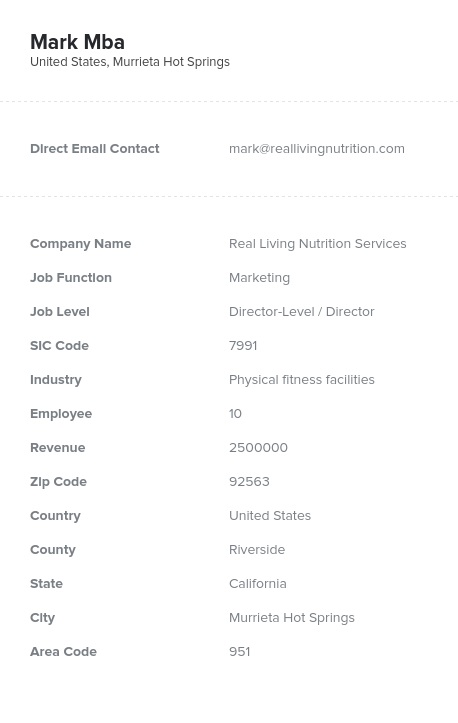 Sample of Fitness Spa Clubs Email List.