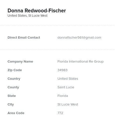 Sample of Florida Realtors, Real Estate Agents Email List.