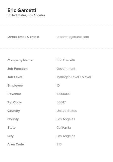 Sample of Government Email List.