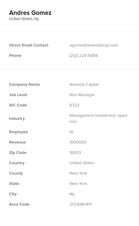 Sample of Holding, Investment Offices Email List.