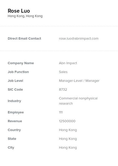 Sample of Hong Kong Email List.