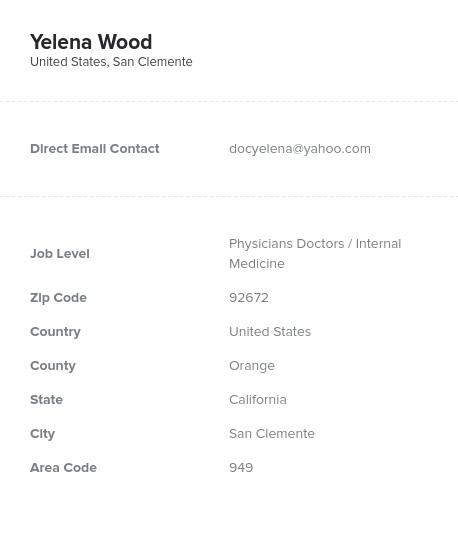 Sample of Internal Medicine Email List.