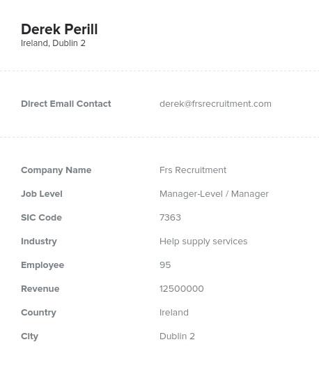 Sample of Ireland Email List.