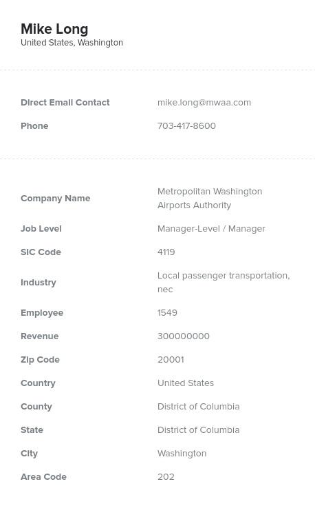 Sample of Local, Suburban Passenger Transport Email List.