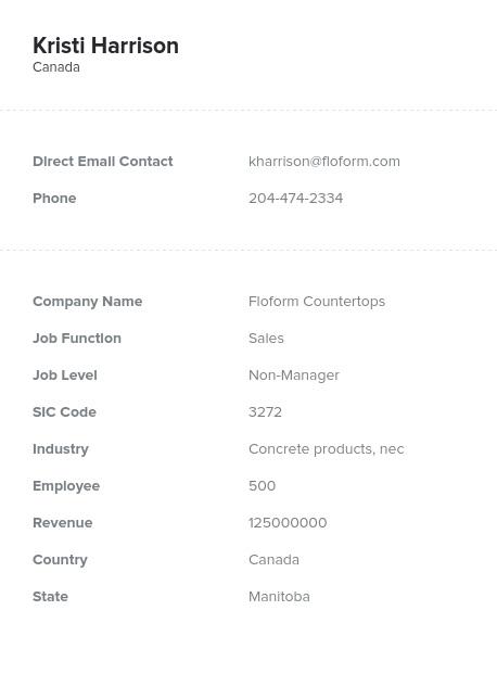Sample of Manitoba Email List.