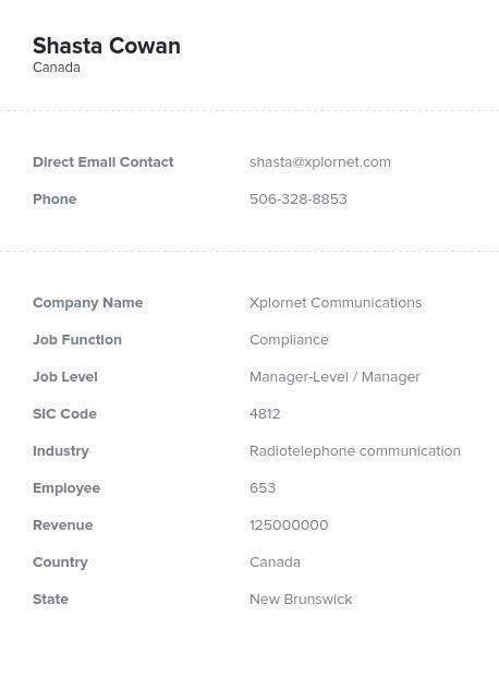 Sample of New Brunswick Email List.