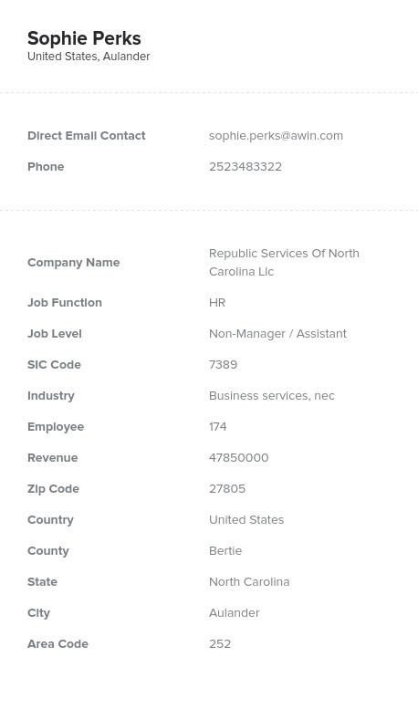 Sample of North Carolina Email List.