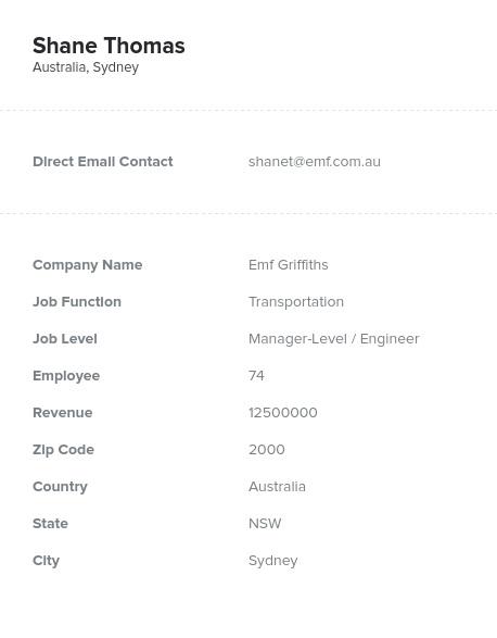 Sample of Oceania Email List.