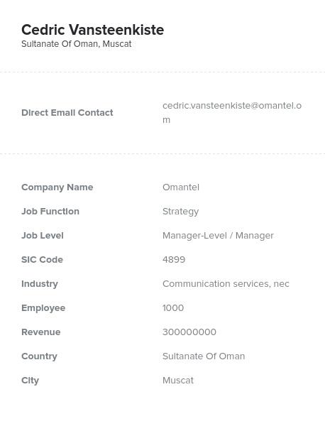 Sample of Oman Email List.