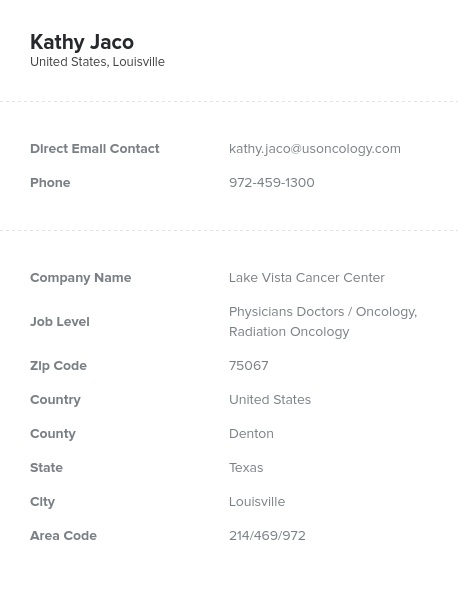 Sample of Oncology, Radiation Oncology Email List.
