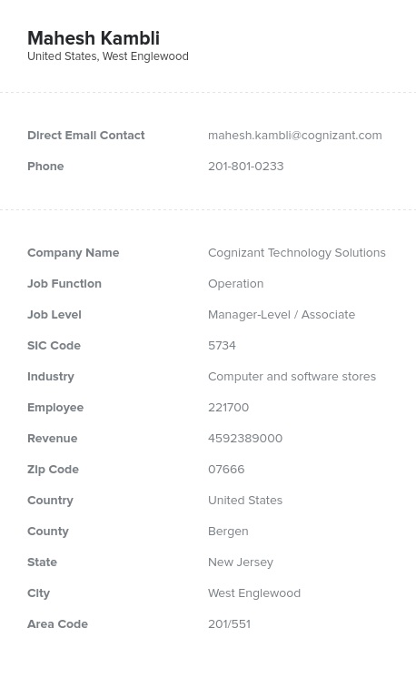 Sample of Operation Email List.