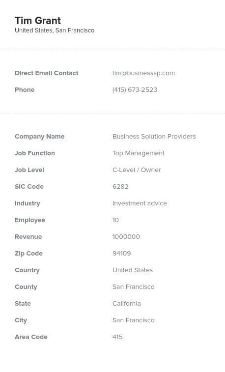 Sample of Owner, Partner, Shareholder Email List.