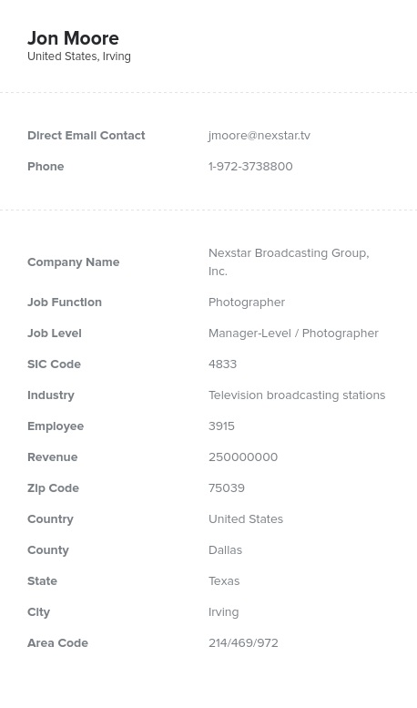 Sample of Photographers Email List.