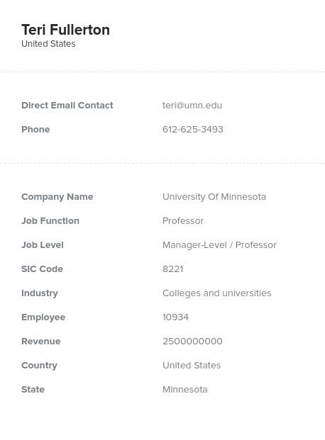 Sample of Professor Email List.