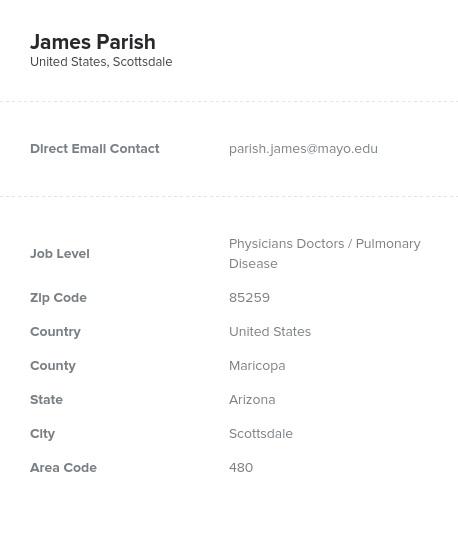 Sample of Pulmonary Disease Email List.