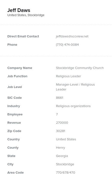 Sample of Religious Leaders Pastors Bishops Priests Email List.