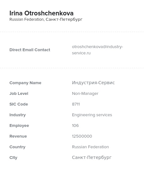 Sample of Russian Market Email List.