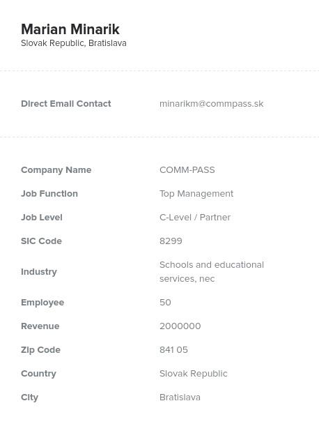 Sample of Slovakia Email List.