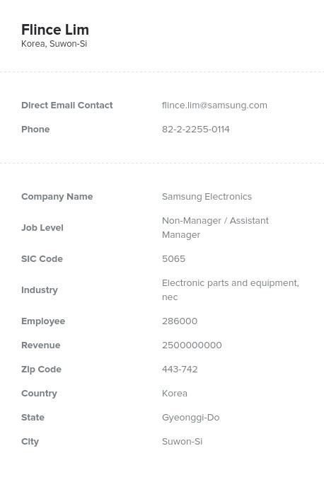 Sample of South Korea Email List.