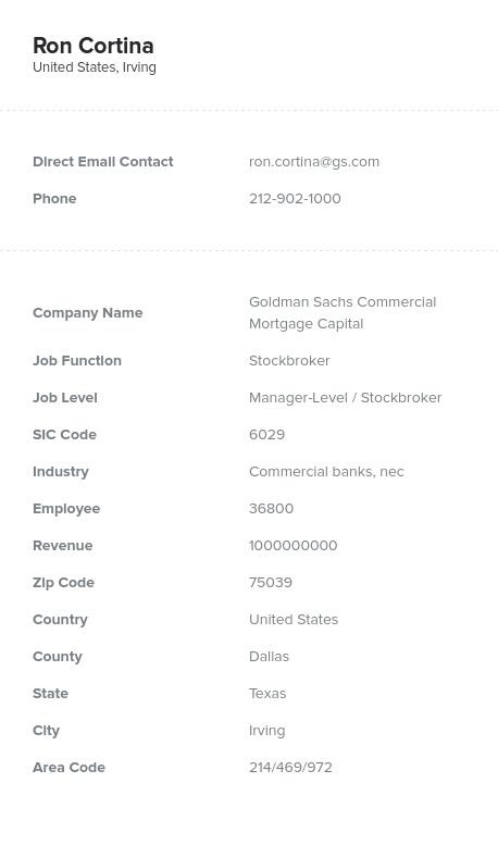Sample of Stockbroker Email List.