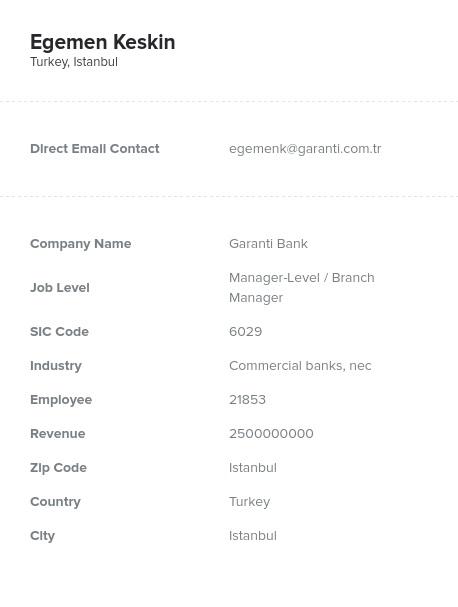 Sample of Turkey Email List.