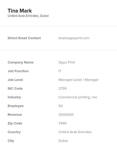 Sample of UAE, Dubai Email List.