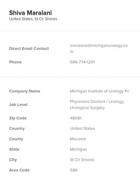 Sample of Urology, Urological Surgery Email List.