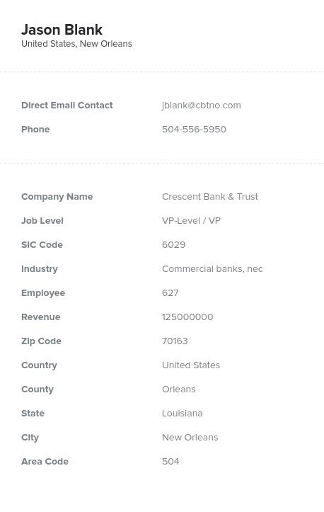 Sample of VP Email List.