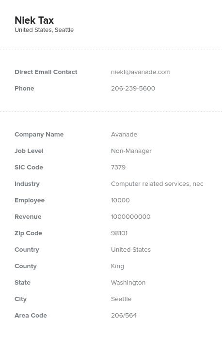 Sample of Washington Email List.